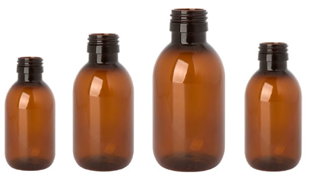 Beta PET Syrup bottles, clean room manufactured by INDEN Pharma<br>