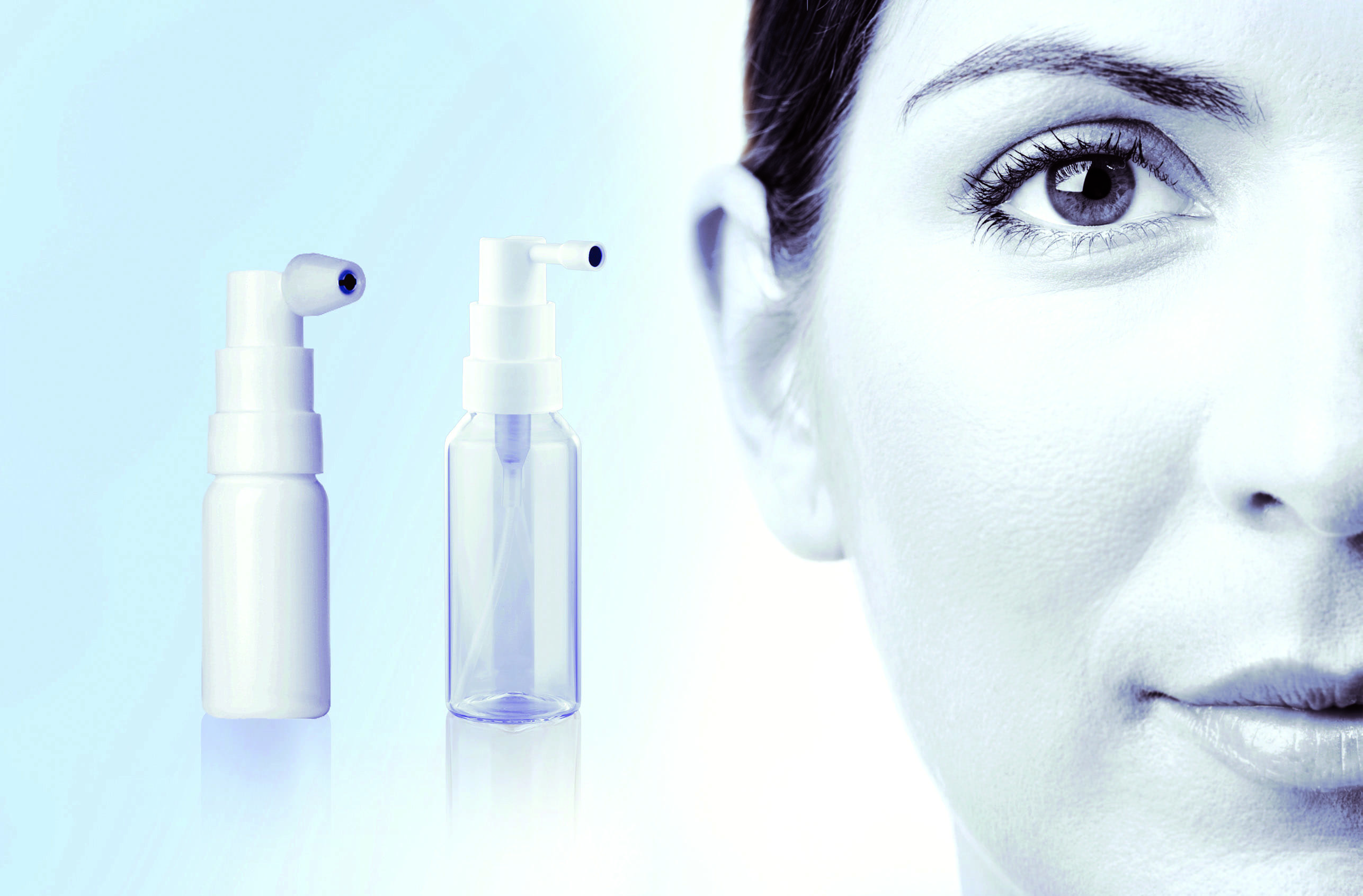 Aero Pump Buccal and Otological pumps shown side by side, next to a woman's face.