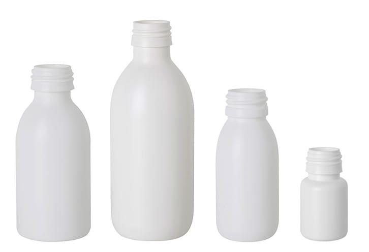 White HDPE Syrup Bottles - PP28 Screw Neck<br>
